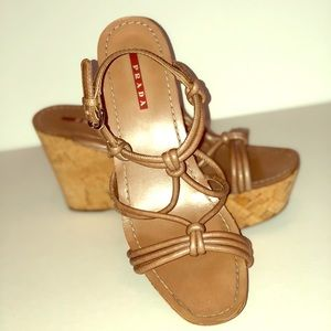 Prada Tan Knotted Strap Leather Cork Wedges size39